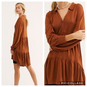 Free People Best Girl Tunic Rust Tiered Keyhole S